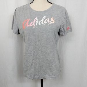 Adidas Gray Ombre Short Sleeve Shirt L